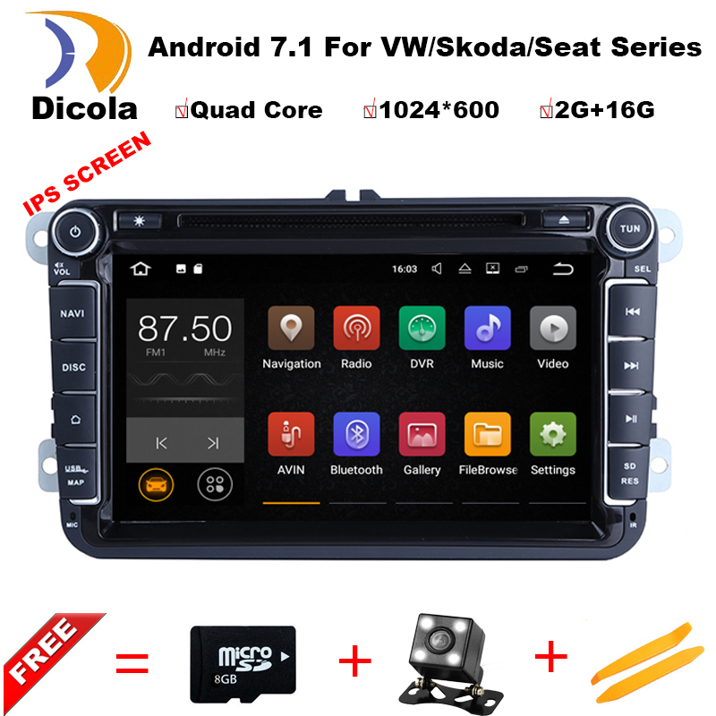 Android 7.1.1! 1.6G Quad Core Car DVD Player For VW/Volkswagen/POLO/PASSAT/Golf/Bora/Skoda/Octavia/Seat Wifi GPS BT FM Map german warehouse 9 android 8 0 car gps for vw volkswagen skoda octavia fabia rapid yeti superb seat golf polo bt rds dvd player