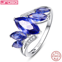 Jrose Wedding Brand Blue Ring 925 Solid Sterling Silver Fashion Jewelry New 2017 Unique Design For