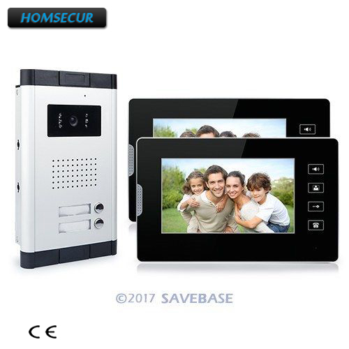 HOMSECUR 7 Apartment Video Intercom Doorbell System IR Camera Touch Key For 2 Families