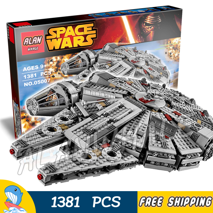 1381pcs Space Wars Millennium Falcon Spaceship Battle Ship 10467 Model Building Blocks Bricks Children Toys Compatible With Lego 2015 high quality spaceship building blocks compatible with lego star war ship fighter scale model bricks toys christmas gift