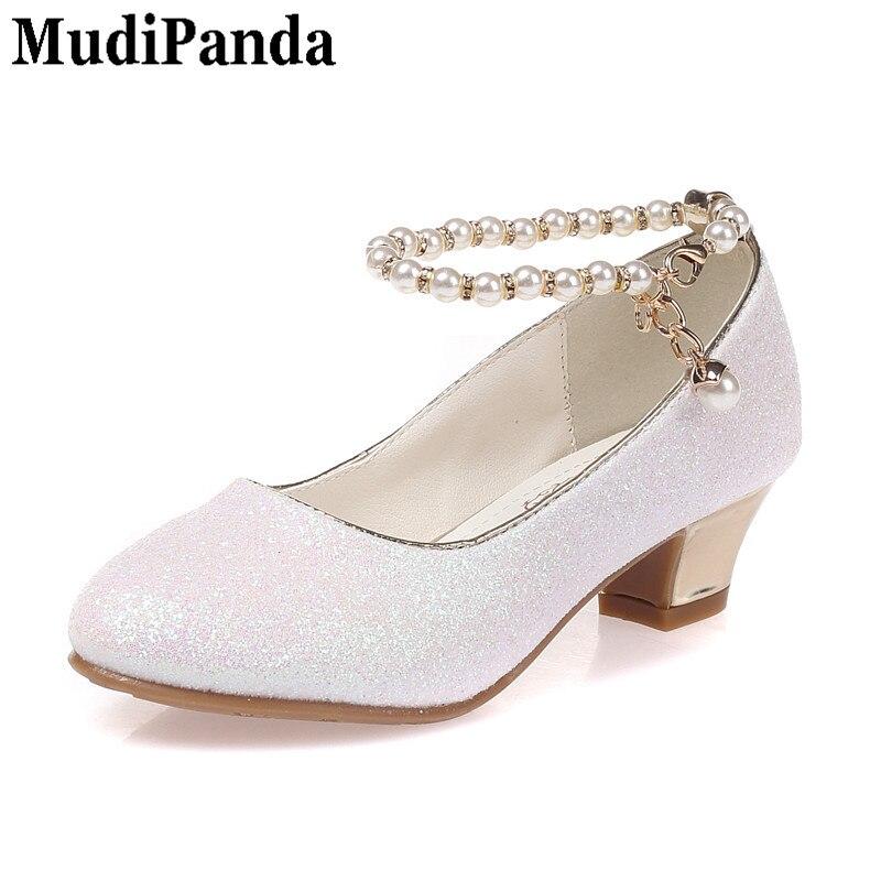 New Kids Girls Sweet Peep Toe Bowknot High Heels Sandals Dress Princess Shoes cn