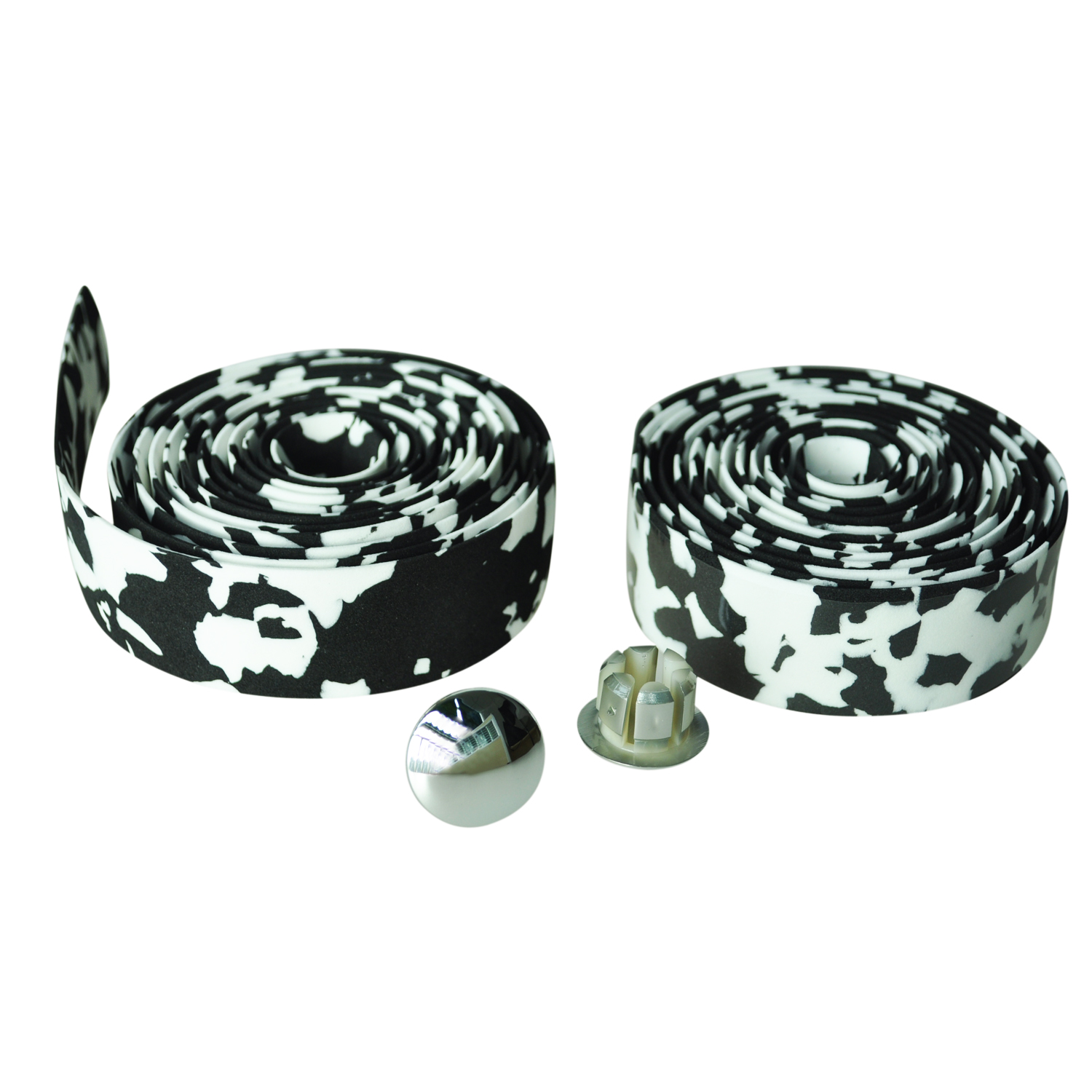 Road Bike Bicycle Cork Handlebar Bar Grip Wrap Tape + 2 Bar Plugs-black & White Camo Preventing Hairs From Graying And Helpful To Retain Complexion