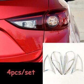 Dla Mazda 3 Axela 2017 ABS Chrome samochodów światła tylne tylne lampy dekoracji ramki wykończenia naklejki Car Styling akcesoria samochodowe 4 sztuk