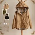 vintage harajuku cute plaid cotton linen patchwork giacche donna denim star print kimono hooded women autumn fall jacket coat