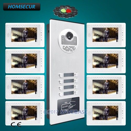 HOMSECUR 7 Wired Video Door Entry Call Intercom With Mute Monitor For 8 Apartment