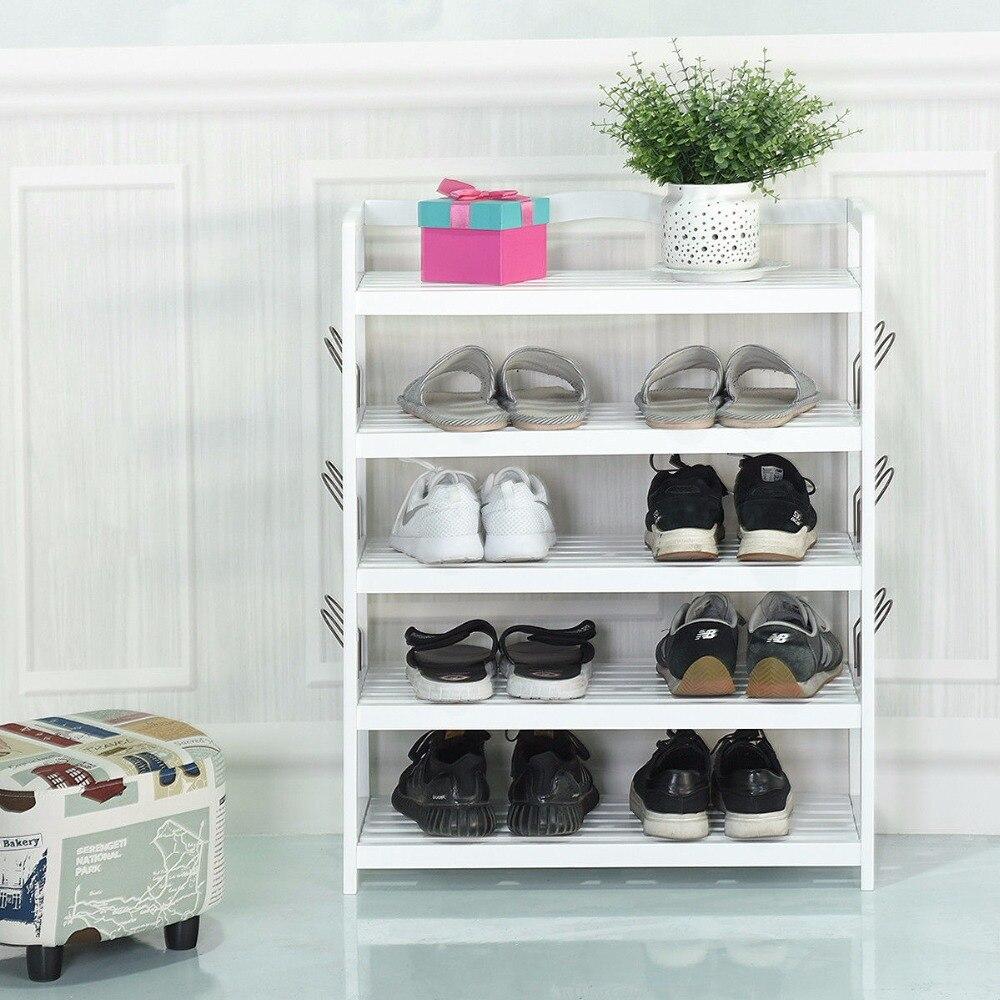 Giantex 5-tier wooden shoe rack shelf storage organizer entryway w ...