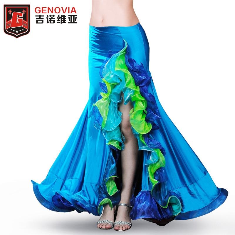2019 Women Dancewear Belly Dance Side Split Bubble Skirt Belly Dance Skirts Hollywood Belly Dancing Skirt
