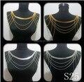 Envío gratis nueva S25 mujeres oro cadenas capas de hombro cadenas cadenas joyería del cuerpo 2 colores