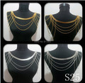 FREE SHIPPING New S25 Women Gold Chains Layers Shoulder Chains Body Chains Jewelry 2 Colors