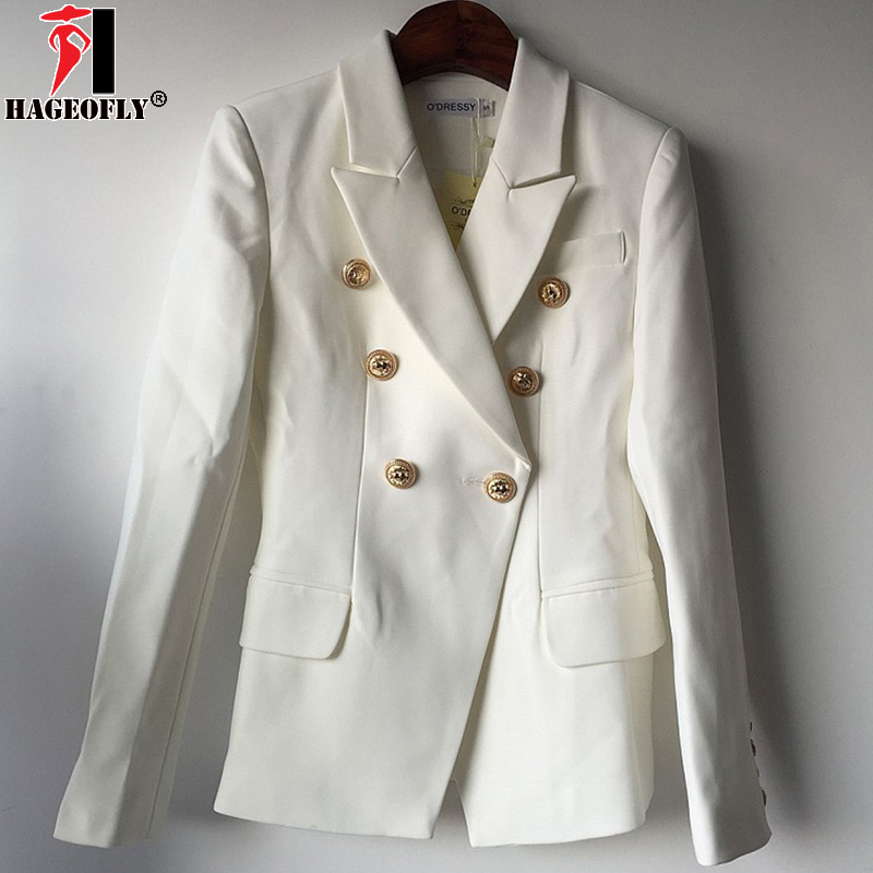 HAGEOFLY New Fashion 2018 Star Style Designer Blazer Women Black White Wrok Office Gold Buttons Double Breasted Blazers S-XXL