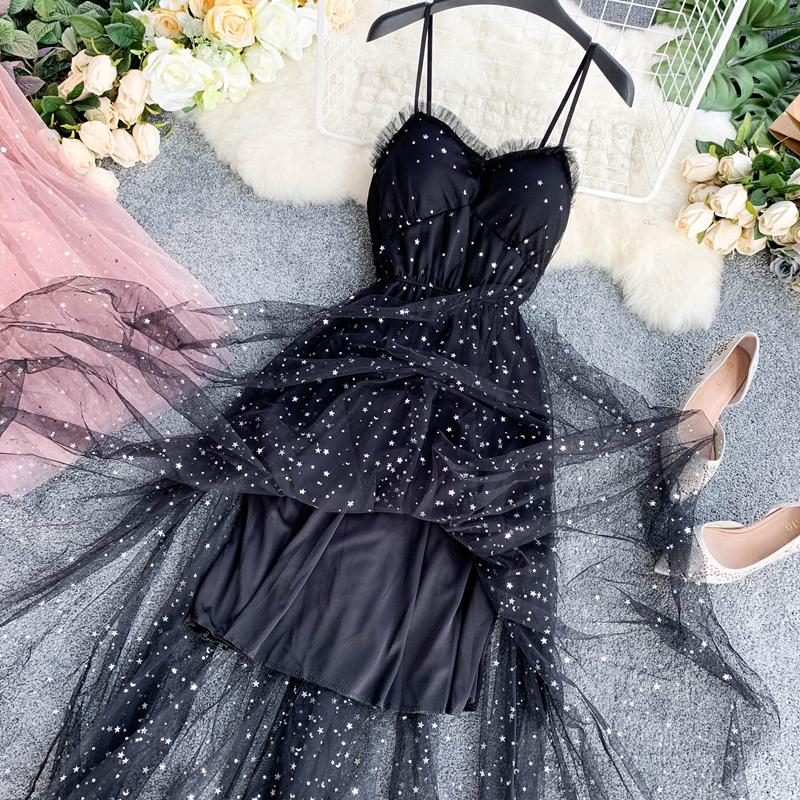 Sequins V-Neck Gauze Ruffles Mesh A-Line Dress 17