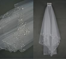 2 Layers white Ivory Pearl  Beading Sequines Elbow Length Satin Edge Wedding Bridal Veil with Comb