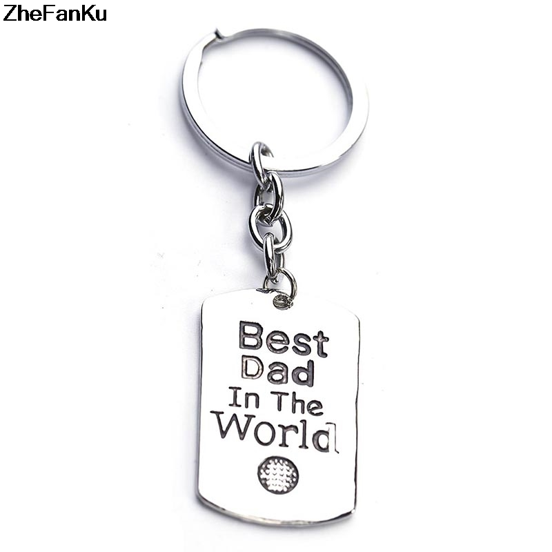 Best Dad letter print Pendant Keychain Keyring Key Chain Fathers Day Gift Family Jewelry Daddy Charm Mens Car Key Holder ...