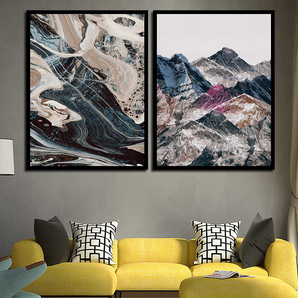 Color Abstract Mountain And River Painting Wall Print A4 Nordic Canvas Poster Modern Fashion Art Pictures For Office Home Decor