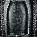 Nuevo 2016 Para Mujer de Dos Laterales De Metal Tachonado Rivet Cintura Alta barroco Faux Leather Pencil Skirts Frente Back Zipper Bodycon Punky falda