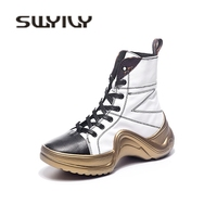 SWYIVY Motorcyle Boots High Top Woman Platform Genuine Leather Casual Shoes 2018 Autumn Female Fashion Ankle Boots Shoes Sliver