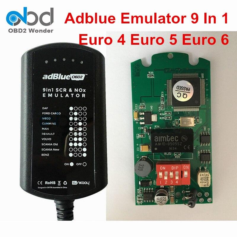 Prix pour 2017 Nouvellement Adblue Émulateur 9 En 1 Camion Outil De Diagnostic Mise À Niveau de Adblue 8 En 1 Support Euro 4 5 6 Pour 9 Sortes De Camions Pleine puce