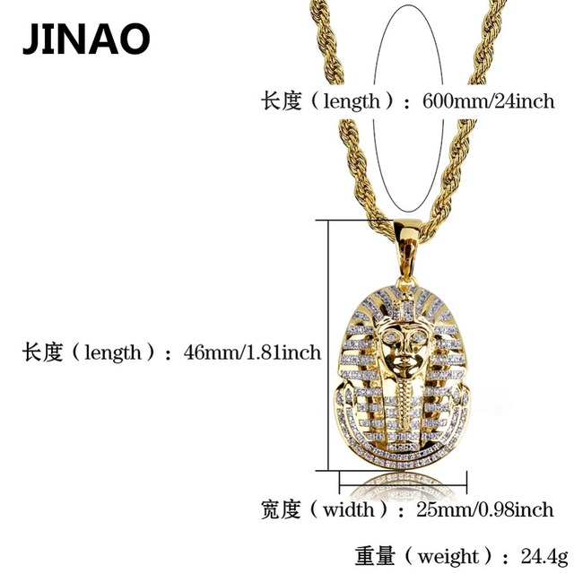 JINAO Hip Hop Jewelry Iced Out Gold Color Plated Egyptian Pharaoh Pendant Necklace Micro Pave Zircon Charm Chain for Women Men