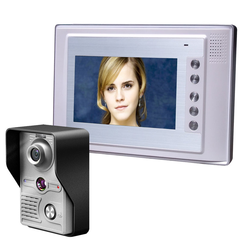 YobangSecurity 7 inch TFT LCD Home Security Video Door Phone Doorbell Entry Intercom Kit 1 IR Camera with Night Vision 1 Monitor 7 inch lcd color video door phone doorbell intercom entry system kit unlock night vision monitor and rainproof ir camera 3v1