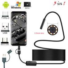 1 м 2 м 1,5 м Проводная Мини эндоскоп камера 5,5 мм объектив для Android type-C/USB Borescopes Водонепроницаемая светодиодная камера для осмотра освещения