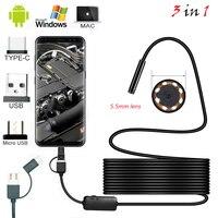 1 м 2 м 1,5 м Проводная Мини эндоскопическая камера 5,5 мм объектив для Android Type-C/USB Borescopes Водонепроницаемая камера для проверки светодиодного осв...