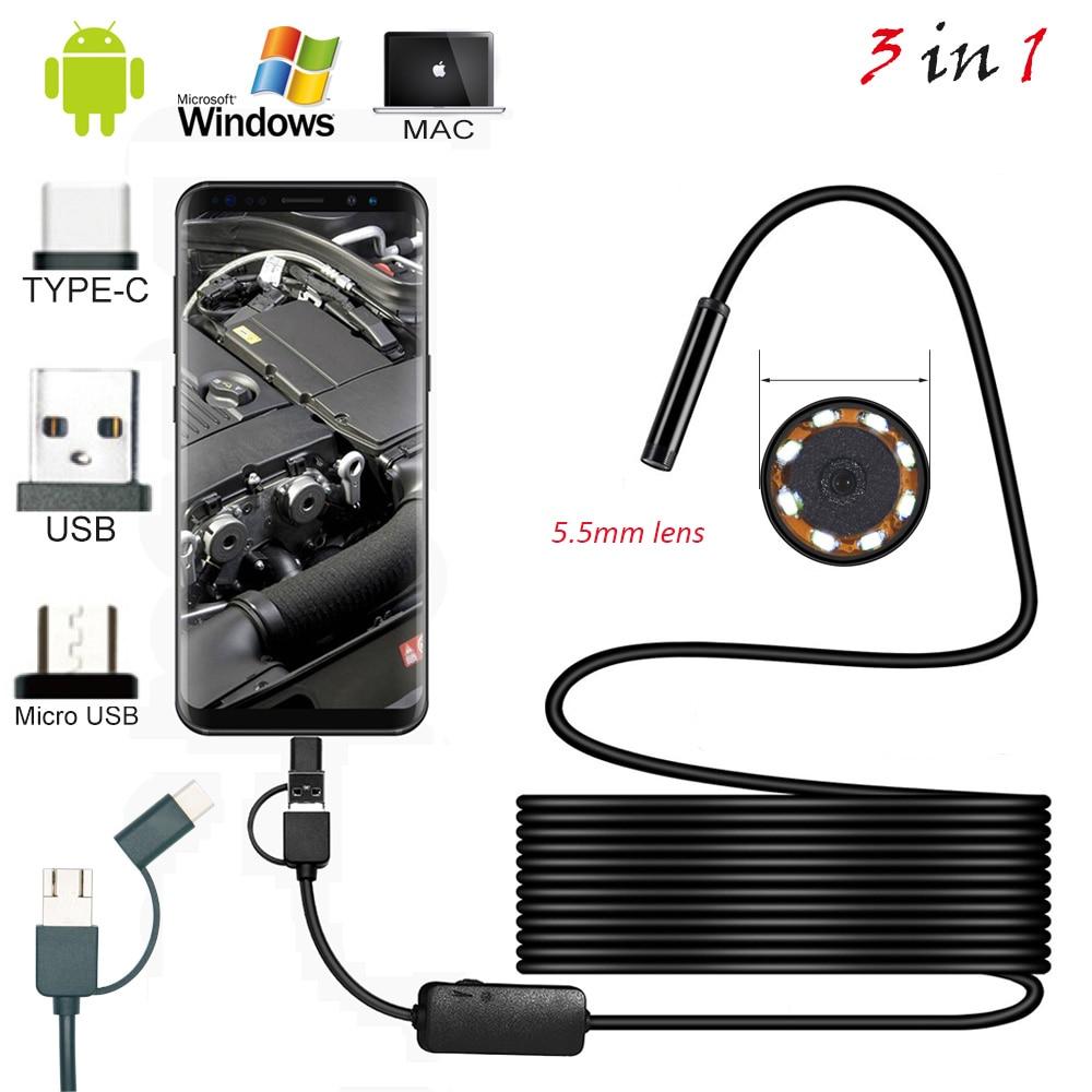1m 2 m 1.5m fio mini endoscópio câmera 5.5mm lente para android tipo-c/usb borescopes impermeável led iluminação inspeção câmera