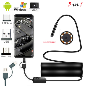 1m 2M 1.5m Wire Mini Endoscope Camera 5.5mm Lens for Android Type-C/USB Borescopes Waterproof Led Lighting Inspection Camera
