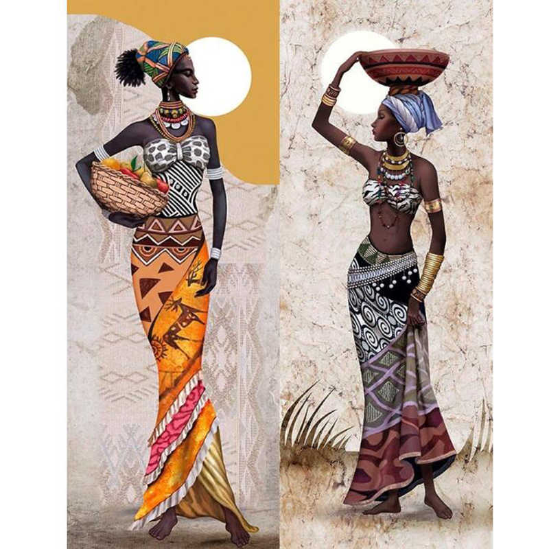 Needlework Diamond Painting African woman Diamond Embroidery full round Drill Rhinestone Mosaic Picture Home Decoration