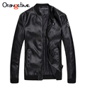 Orangetime 2017 New Men PU Leather Jacket Solid Color Mandarin Collar Jacket Men Spring Autumn Casual Leather Jacket MWP416