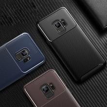Lüks Karbon Fiber telefon kılıfı Samsung Galaxy S9 Artı üzerinde Not 9 A6 A8 Artı 2018 J3 J2 pro A7 2018 Yumuşak Silikon TPU kap...