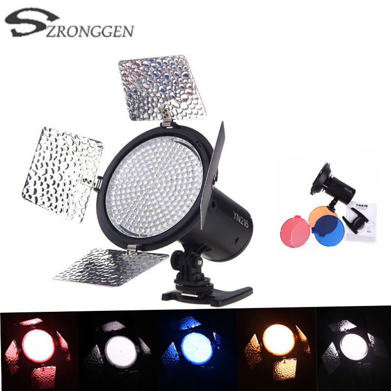 Yongnuo YN216 5500k Pro LED Studio Video Light Camera Shoot with 4 Color Plates for Canon