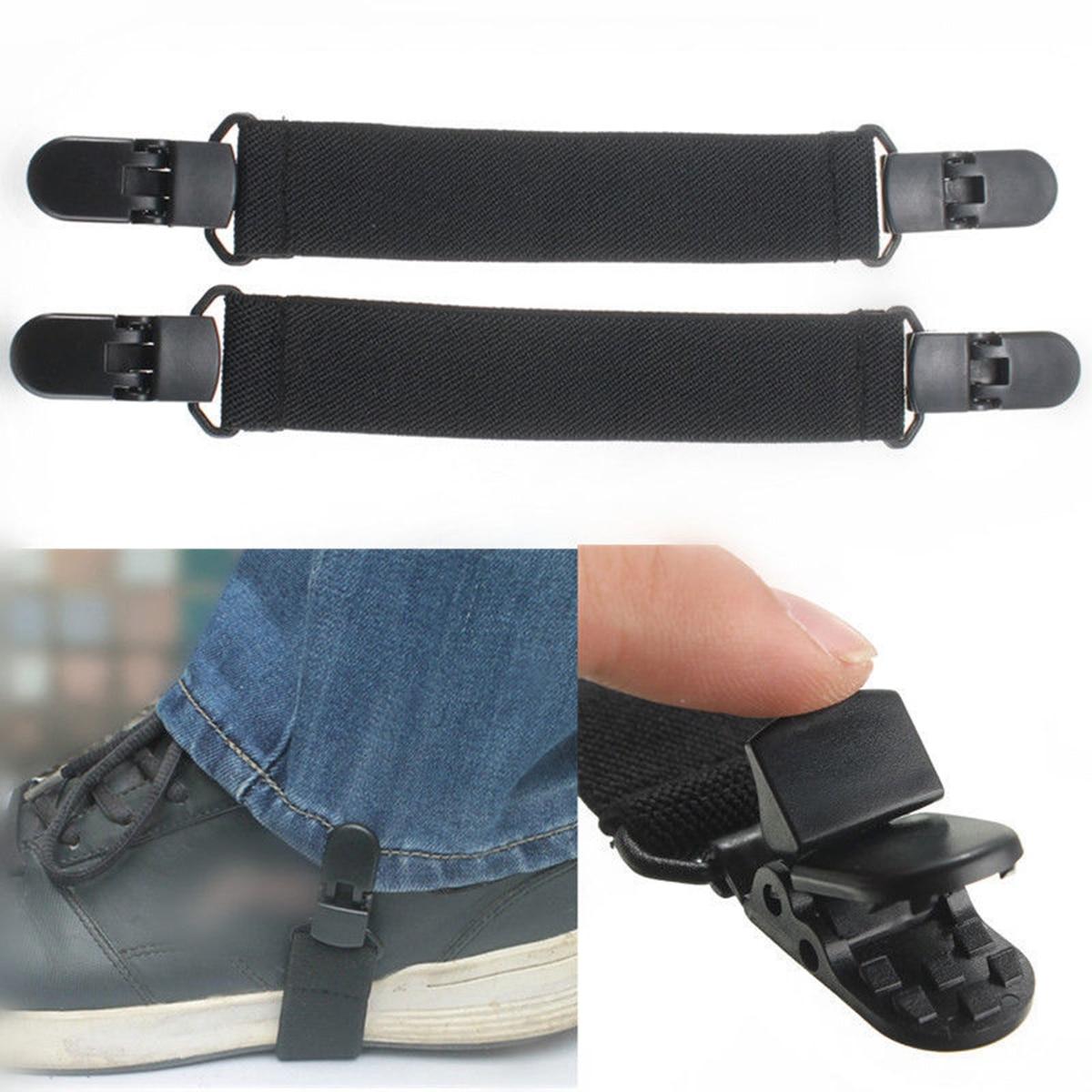 2pcs Adjustable Elastic Motorcycle Bike Leg Boot Straps Stirrup Pant Clips R8U