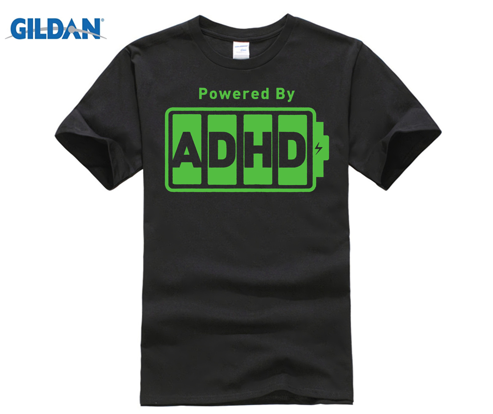 162303cb Battery Powered ADHD T Shirt Funny Energy ADD Deficit Tee Top Tee for Sale  Natural Cotton