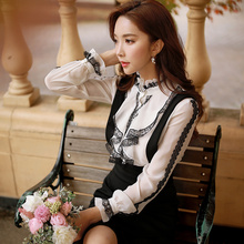 dabuwawa long sleeved shirt 2016 new autumn and winter stand collar fashion casual white flounces blouse women pink doll