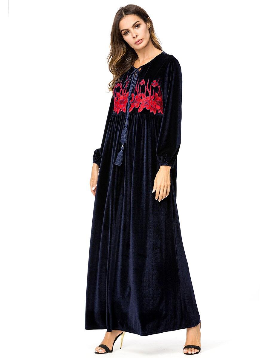 ArtSu 2018 Retro Ethnic Robe Femme Burgundy Women Long Sleeve Geometric  Embroidery Autumn Maxi Dress Plus Size Pleated VestidoUSD 26.42 piece 50525b986455