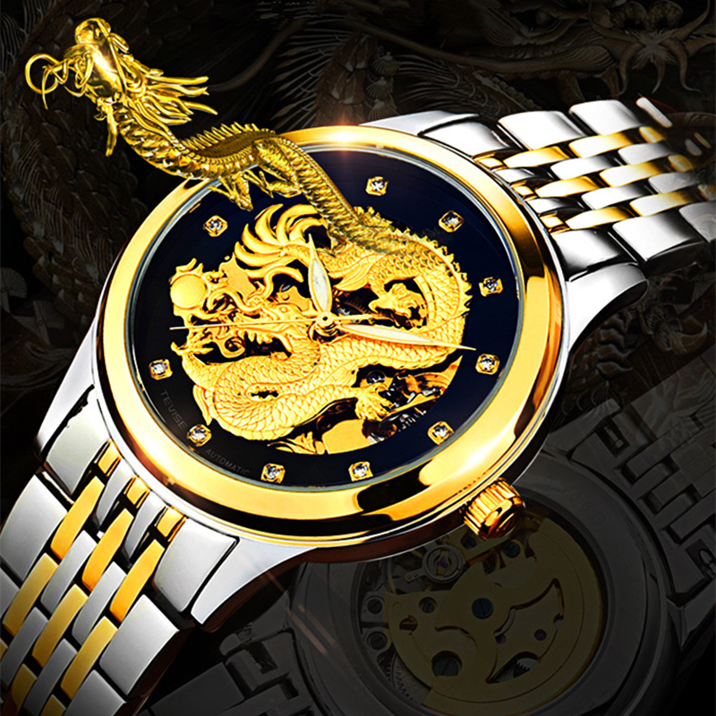 TEVISE Dragon Watch Men automatic mechanical tourbillon watches fashion mens watches automatic self-wind Steel Wrist Watch tevise men automatic self wind gola stainless steel watches luxury 12 symbolic animals dial mechanical date wristwatches9055g