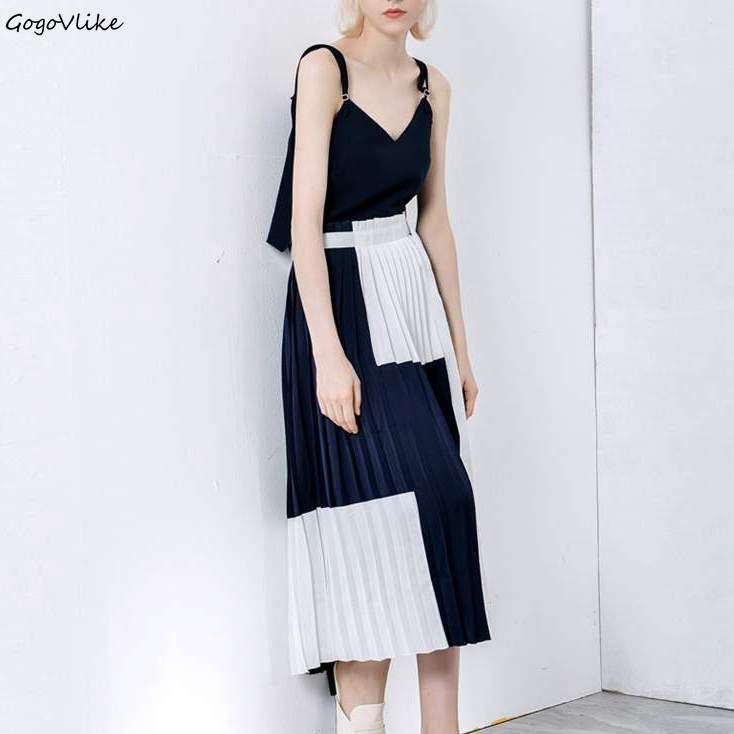 Nouvelle Bretelles Fente De Latérale Spaghetti L'épaule Robe Plissée Lt200s30 D'été Robes Corée Élégante 2018 Femmes Style XfqwwB