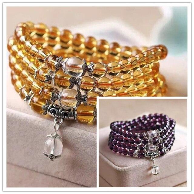 HOT purpl&yellow crystal quartz stone 6mm 108 round loose beads making jewelry bracelet B980