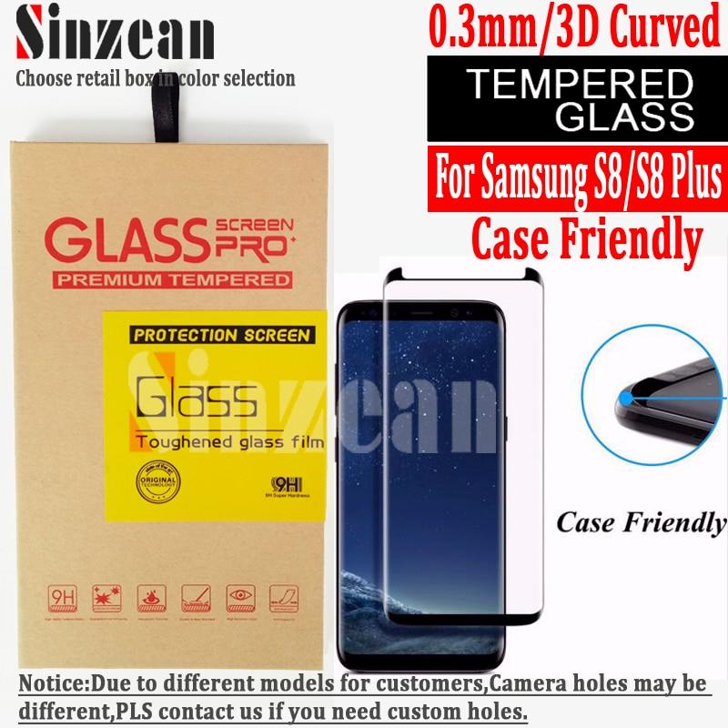 Цена за Sinzean 20 шт. 3D Изогнутые Дело атака (не Полное Покрытие) для Samsung Galaxy S8/S8 Плюс 3D изогнутые закаленное Стекло-Экран Протектор