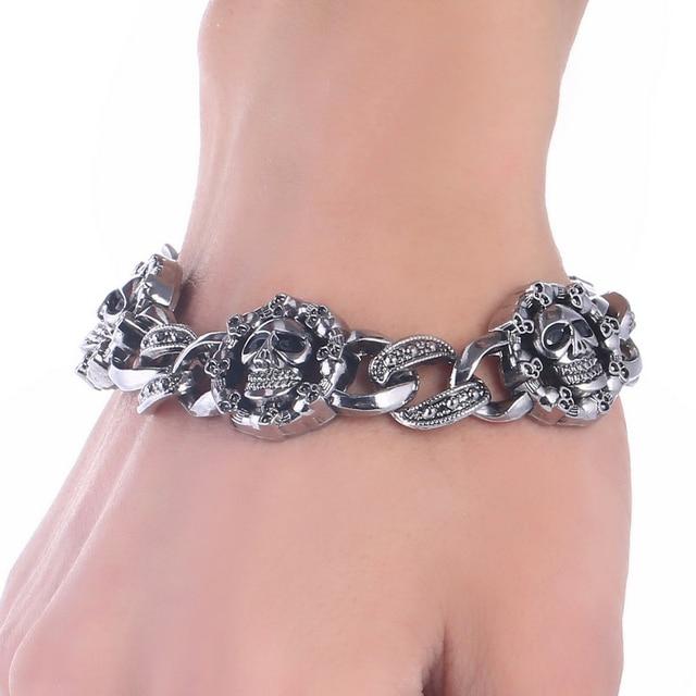 Stainless Steel Bracelet Charms: Skull Stainless Steel Charm Bracelet