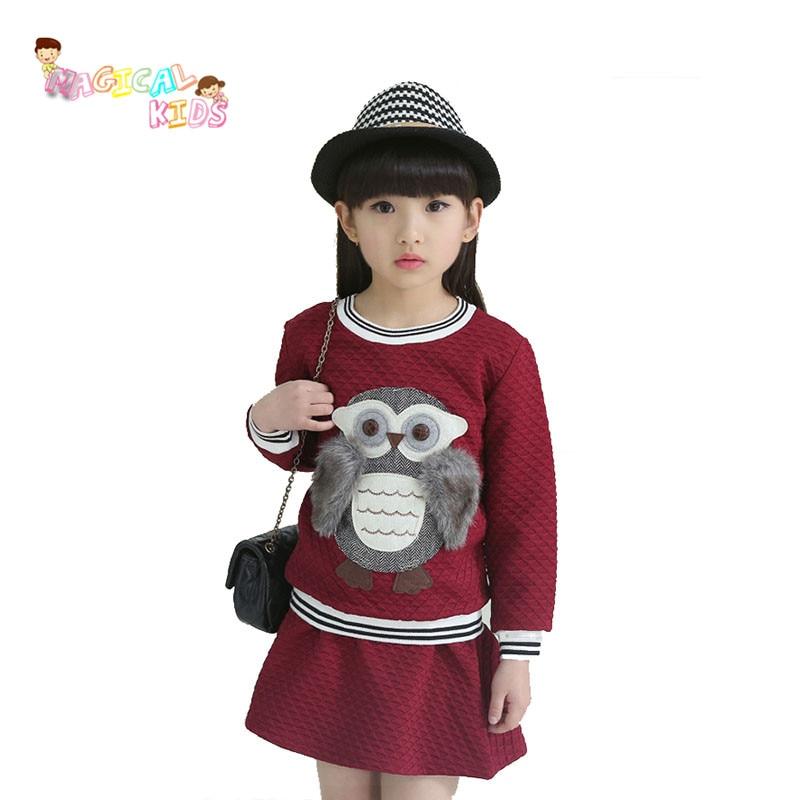 Girls Clothes Sets spring 2016 Long Sleeve Cotton Sweatshirts/ Ruffles Skirt 2pcs Kids Clothing Sets Brand Teenage Girl Clothing