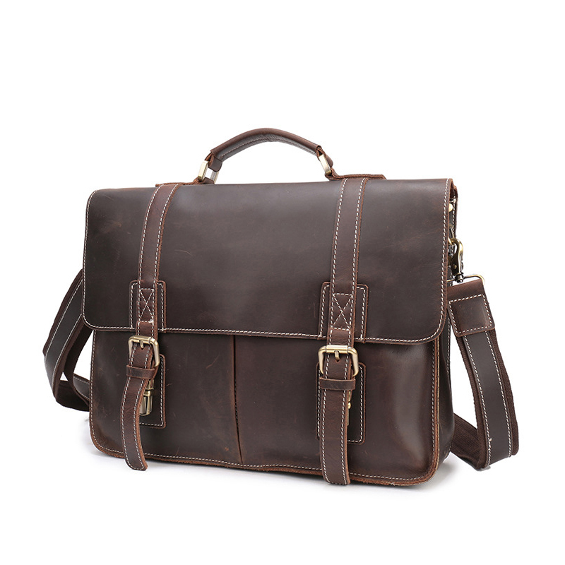 TIANHOO 14 inch laptop man bags genuine leather bag shoulder & handle men bags crazy horse leather briefcase for work