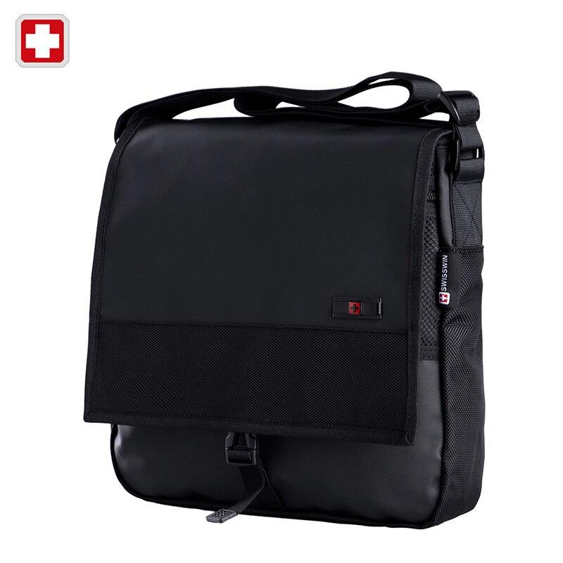 Swisswin Business Casual Messenger Bag Brand Casual Shoulder Bag Medium Size Black Book Satchels Crossbody Waterproof Zipper Bag