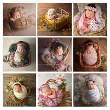 Newborn Photography Props Baby Vintage Woven Basket Photo Shooting Infant Container Girl Fotografia