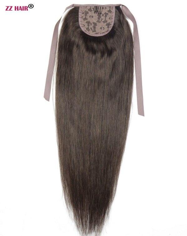 """ZZHAIR 80 г 1""""-24"""" машинное производство remy волосы лента Конский хвост на заколках человеческие волосы для наращивания конский хвост Натуральные Прямые Волосы - Цвет: #2"""