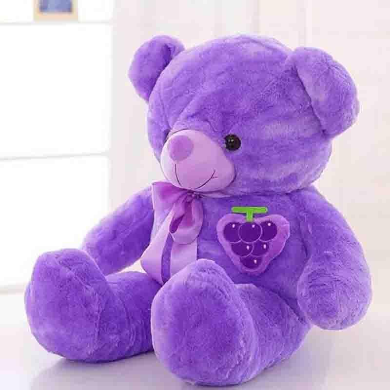 60 cm nouvelle peluche peluche violet ours chiffon poupée raisin ours en peluche noeud papillon sommeil oreiller coussin animaux poupée enfants cadeau