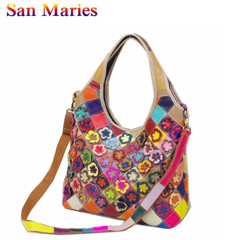 San Maries sacs en cuir véritable femmes coloré Patchwork fleur peau de vache sacs à main dames fourre-tout décontracté épaule femmes sac 2019
