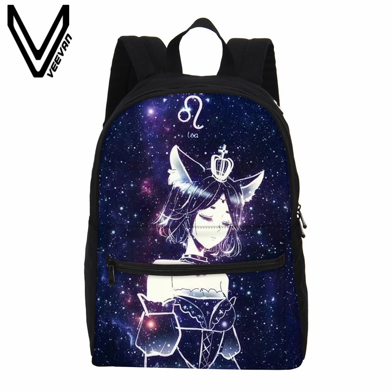 Veevanv Women Backpack Fashion 12 Constellations Printing Backpack Children School Backpacks Canvas 3d Galaxy Shoulder Bag Girls