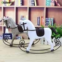 Creative Vintage Home Decoration Accessories Nordic Solid Wood Rocking Horse Statue Wood Crafts Office Restaurant Furnishings