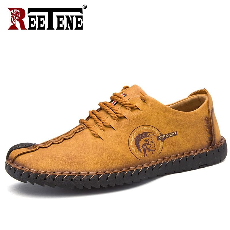 REETENE Men Leather Shoes 2018 Autumn Lace Up Men Shoes Fashion Casual Shoes Men Comfortable Leather Shoes Men Loafers 38-48 men s leather shoes vintage style casual shoes comfortable lace up flat shoes men footwears size 39 44 pa005m